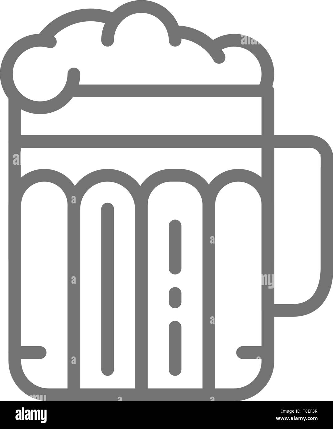 Pint of beer, alcohol, glass with drink line icon. - Stock Image
