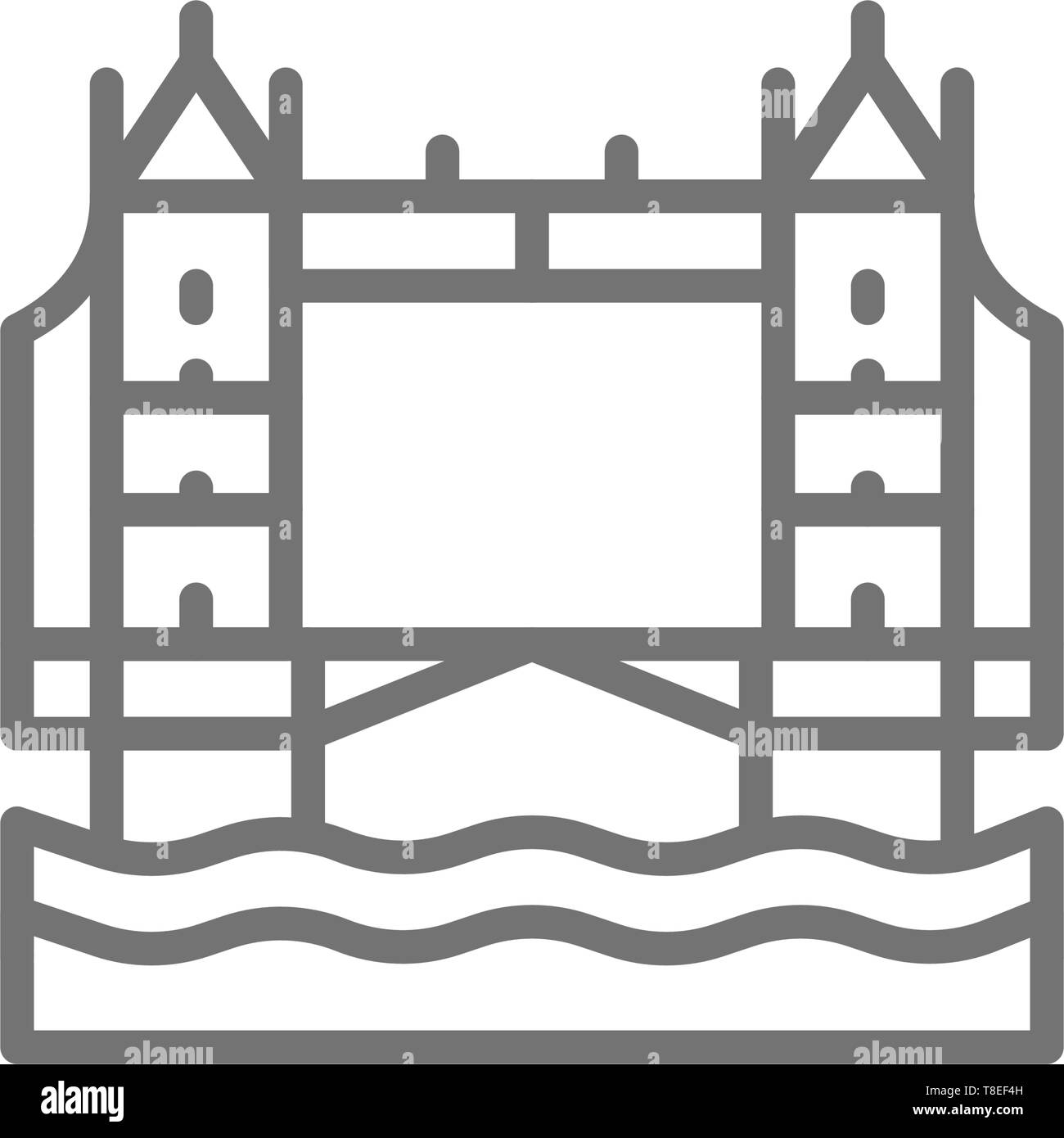 Tower Bridge, London city landscape line icon. - Stock Vector