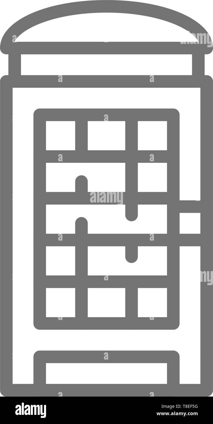London phone booth, English call box line icon. - Stock Image