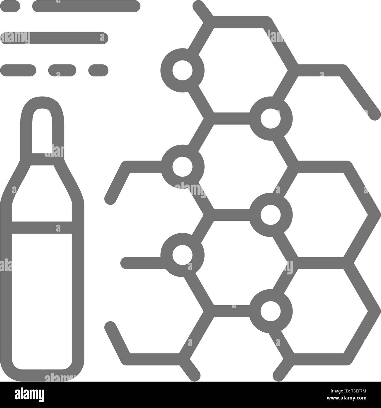Medicine formula, ampoules, vaccine line icon. Isolated on white background - Stock Vector