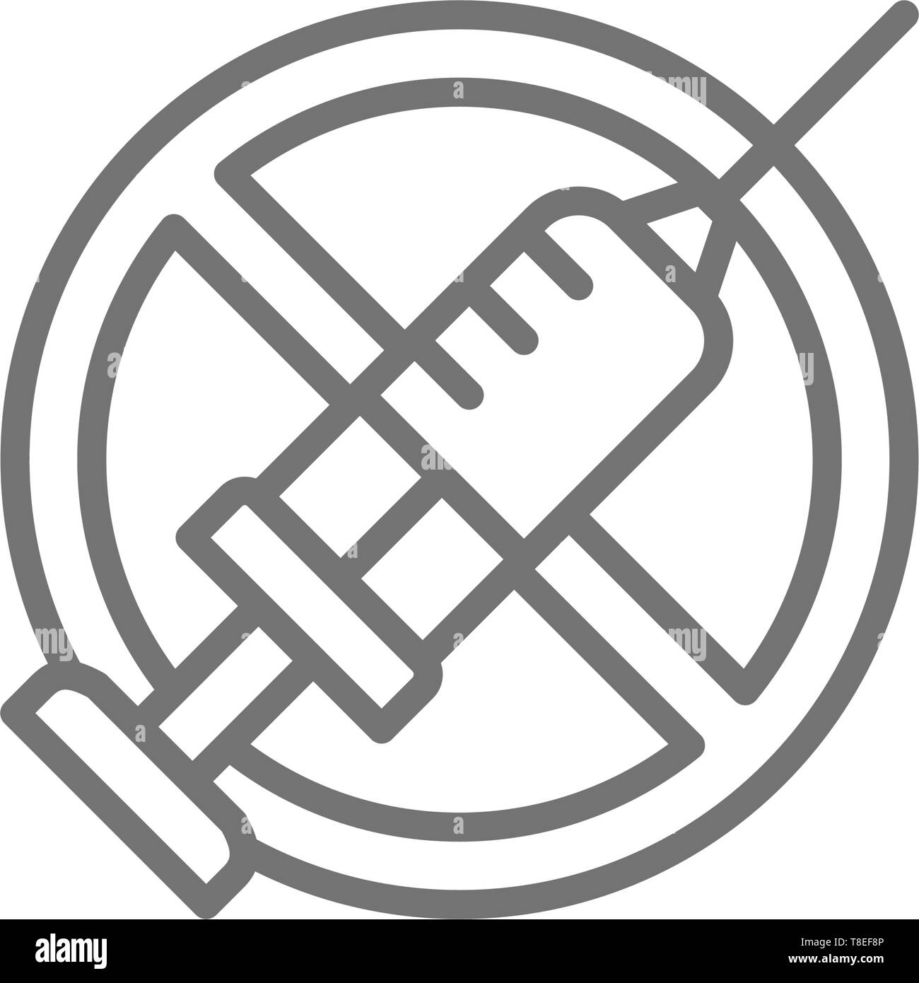 Forbidden sign with syringe, no vaccination, no injection line icon. - Stock Image