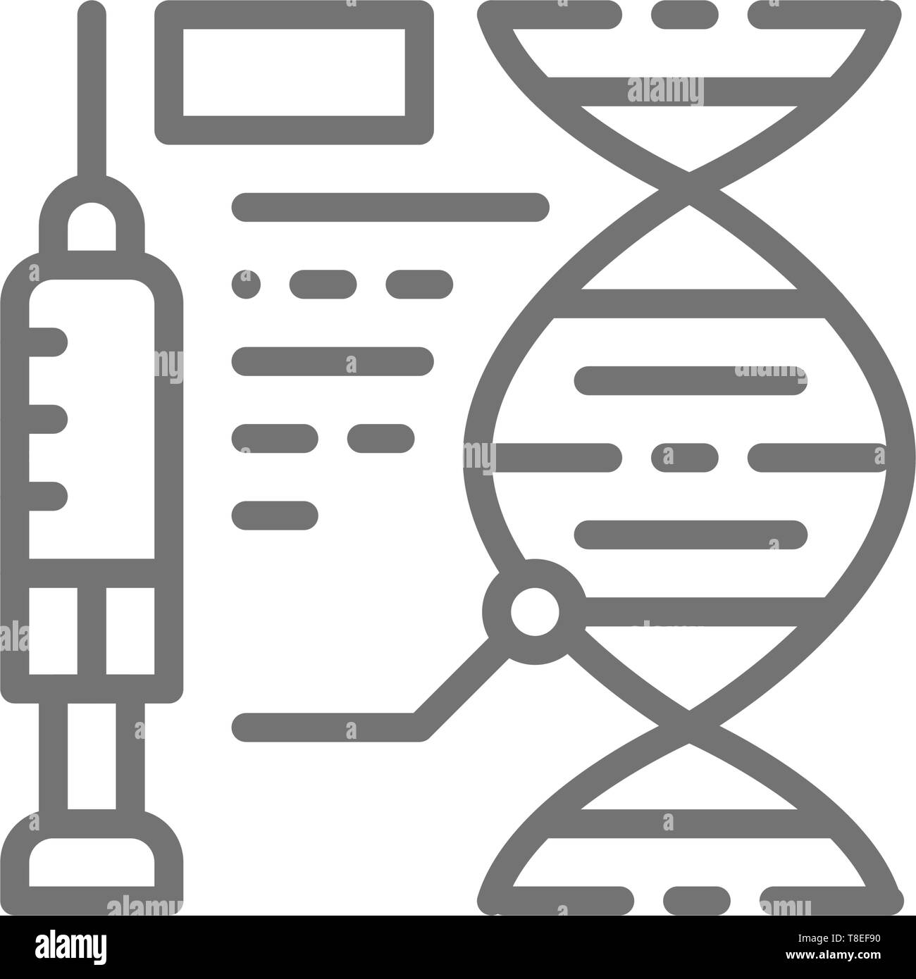 Vaccine formula, injection of medicine, dna line icon. - Stock Image
