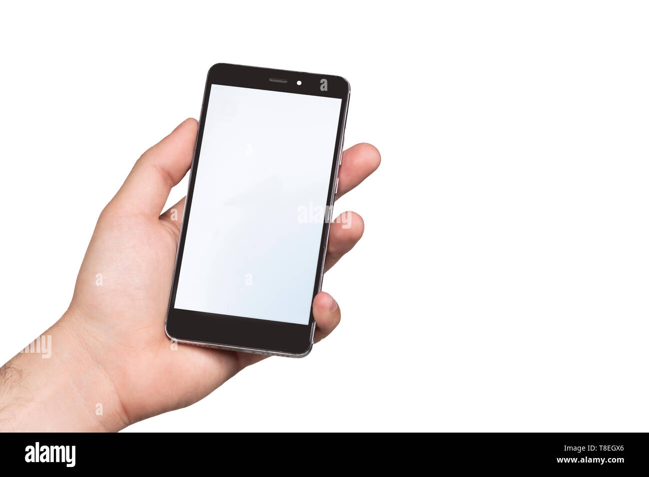 mobile screen mockup, black and white. mobile held by a hand. white background .. ideal for illustrators or write your own messages Stock Photo