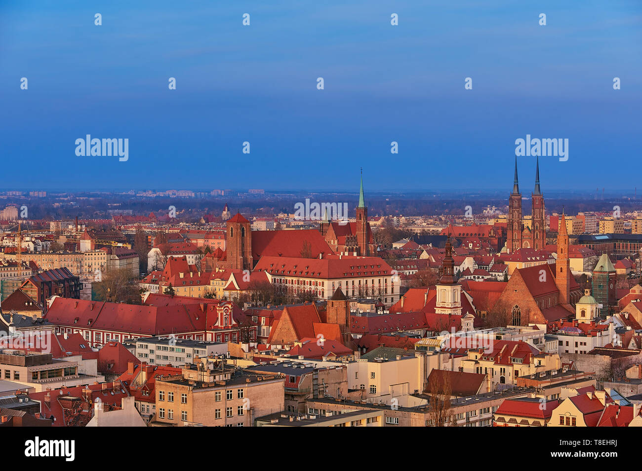 Aerial view on the centre of the city Wroclaw, Poland - Stock Image