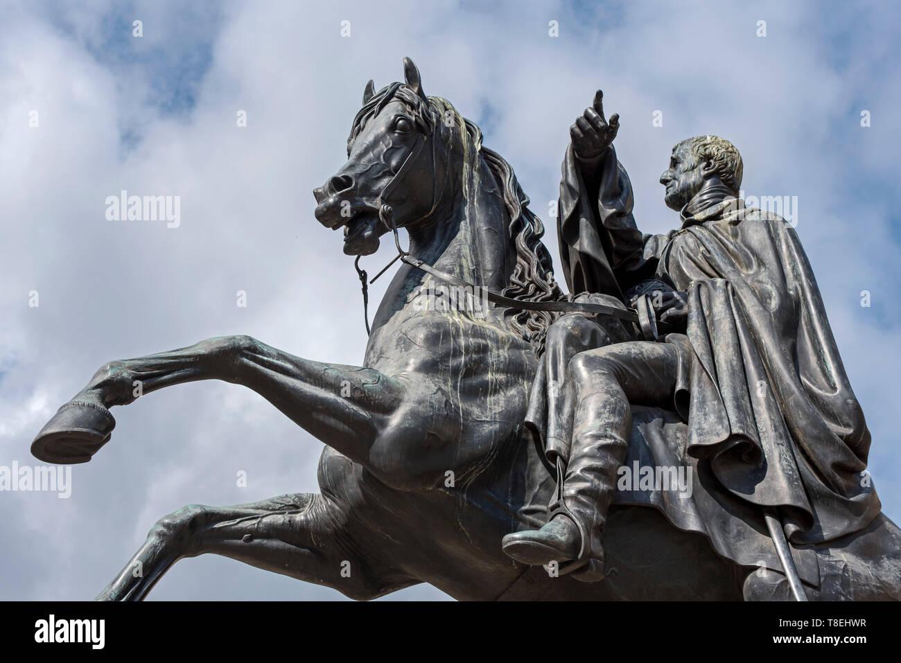 The statue of the Duke of Wellington at the East End of Princes Street, Edinburgh, Scotland, UK. - Stock Image
