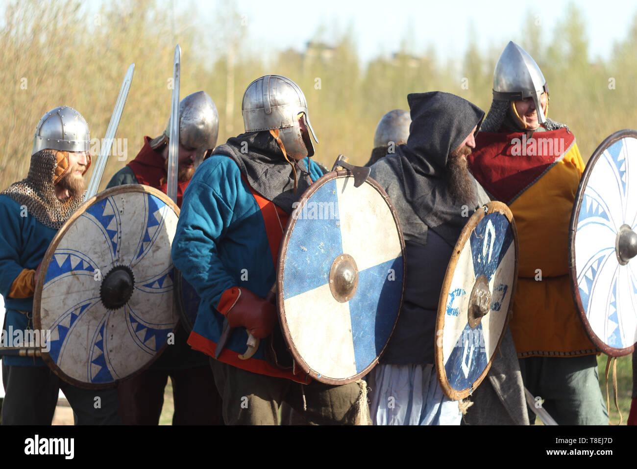 Group of slav warriors in reenactment battle rehearsal training - Stock Image