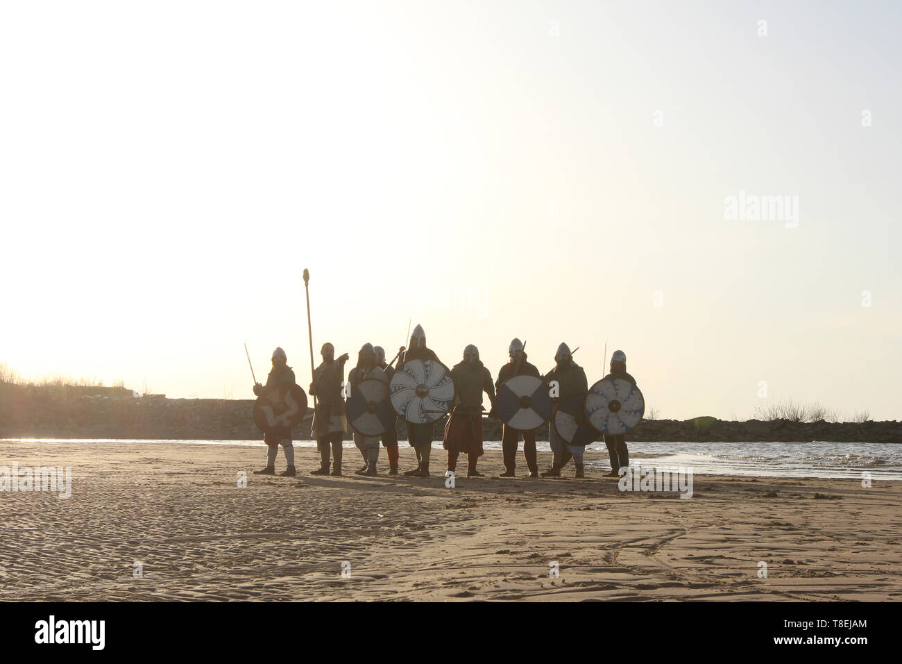 Slavic warriors reenactors with wearpons and shields posing outdoors at seaside standing in a row - Stock Image