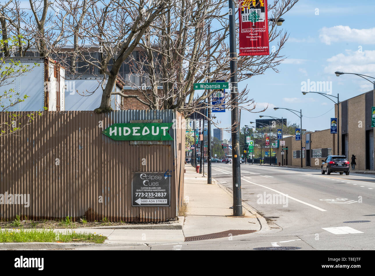 Industrial buildings on Elston Avenue in the vicinity of the Lincoln Yards development - Stock Image
