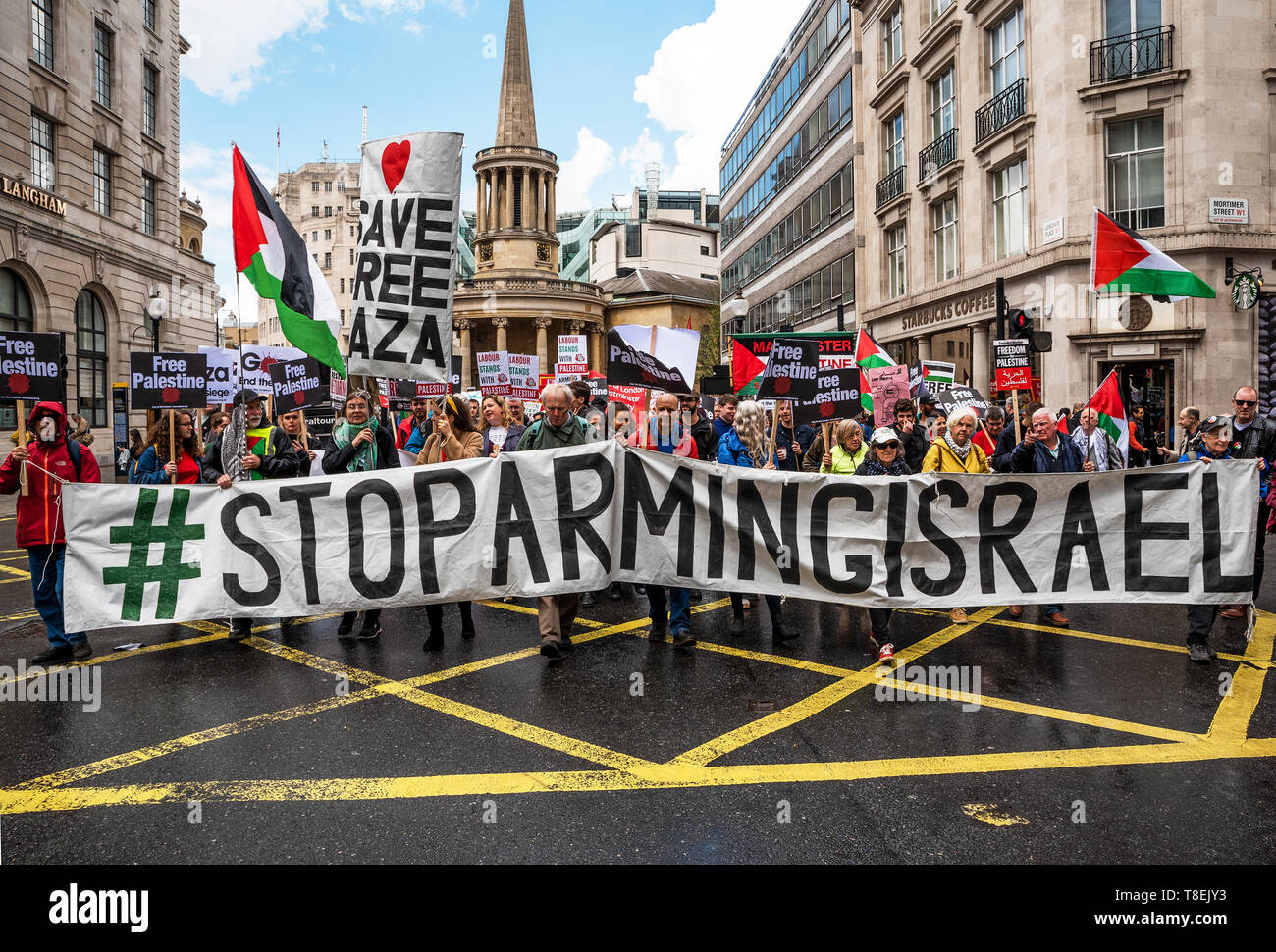 London, UK. May 11th 2019. National Demonstration for Palestine. Thousands of activists marched from Portland Place to Whitehall. Organised by the Palestine Solidarity Campaign, Stop the War Coalition, Palestinian Forum in Britain, Friends of Al- Aqsa & Muslim Association of Britain. Credit: Stephen Bell/Alamy Stock Photo Stock Photo