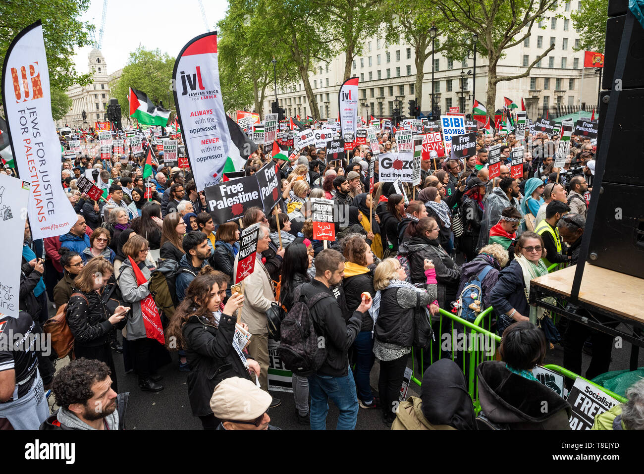 London, UK. May 11th 2019. National Demonstration for Palestine. Thousands of activists marched from Portland Place to Whitehall. Organised by the Palestine Solidarity Campaign, Stop the War Coalition, Palestinian Forum in Britain, Friends of Al- Aqsa & Muslim Association of Britain. Pictured, protesters in Whitehall. Credit: Stephen Bell/Alamy Stock Photo Stock Photo