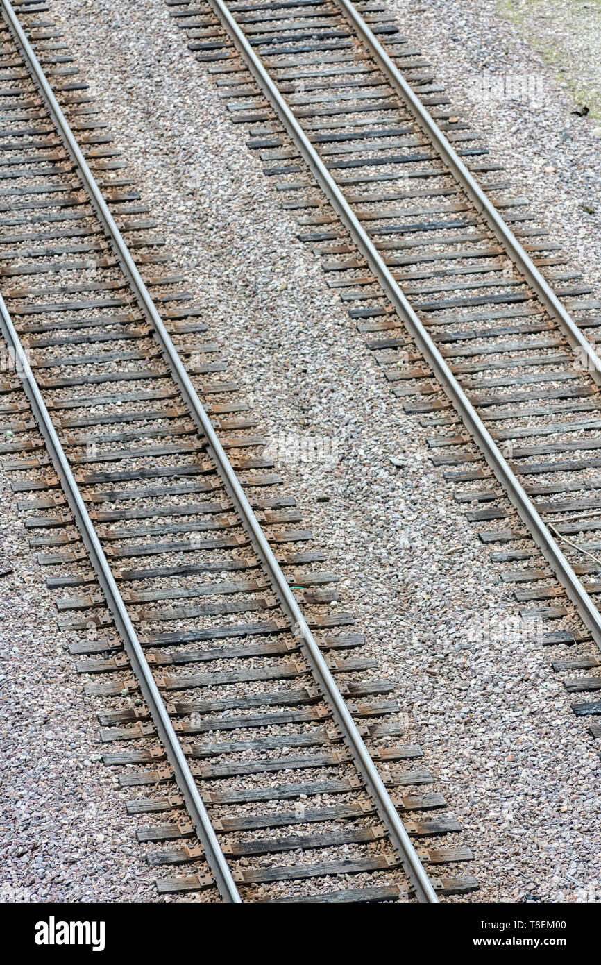 Isolated detail of railroad tracks looking down from above - Stock Image