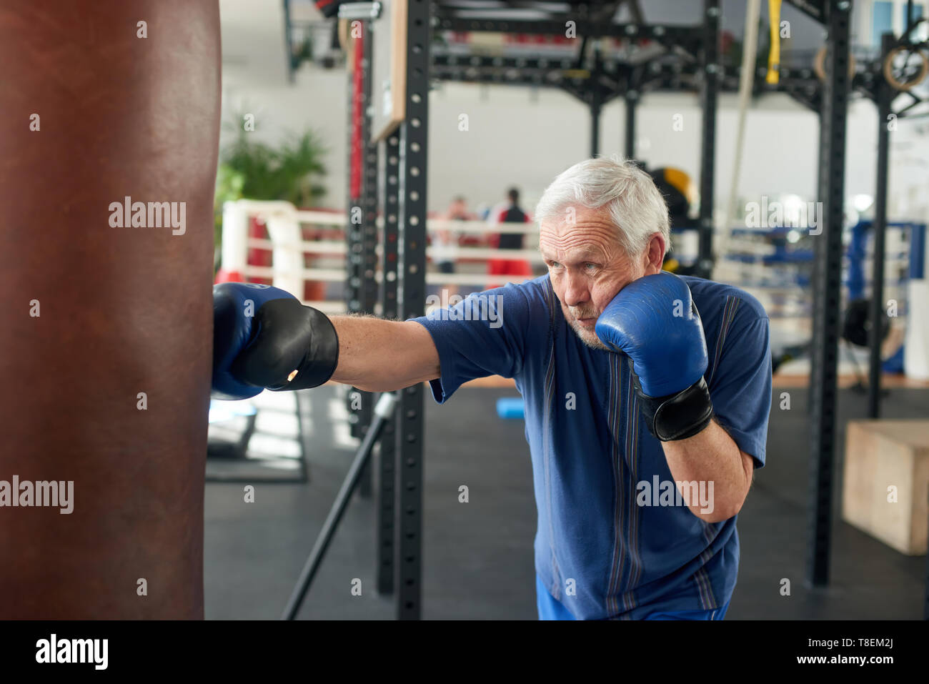 Male pensioner trains on a punching bag. Serious older man working out with punching bag at boxing hall. Sport training concept. - Stock Image