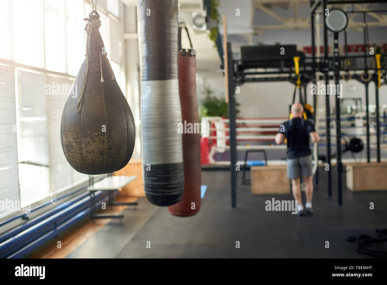 Interior of fitness hall with punching bags. Punching bags hanging in sport club. Gym for for fitness workout. - Stock Image