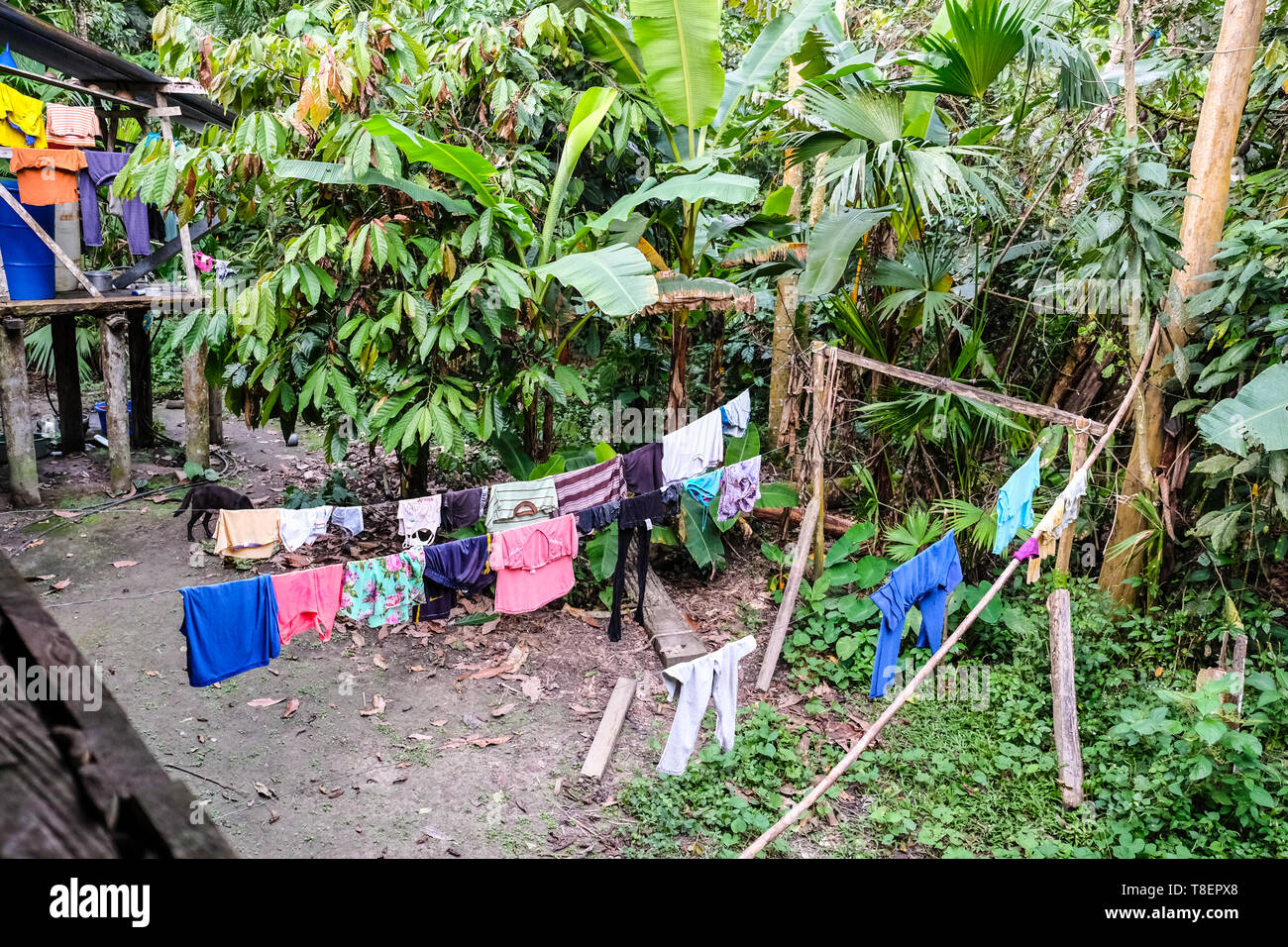 Clothes hanging outside an indigenous residence in Ecuador - Stock Image