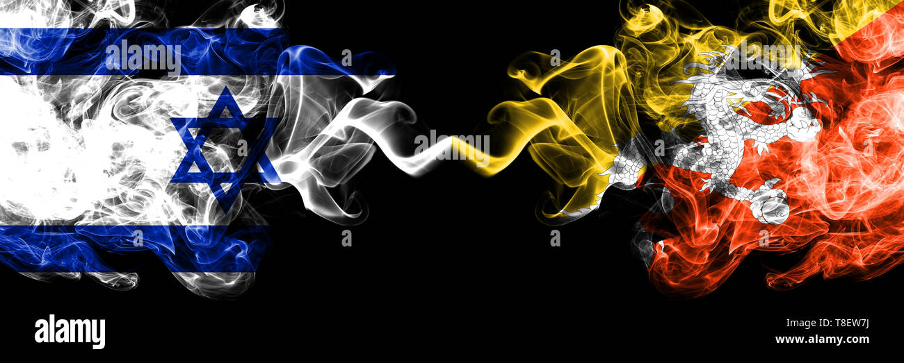 Israel vs Bhutan, Bhutanese smoky mystic flags placed side by side. Thick colored silky smokes flag of Israel and Bhutan, Bhutanese. - Stock Image