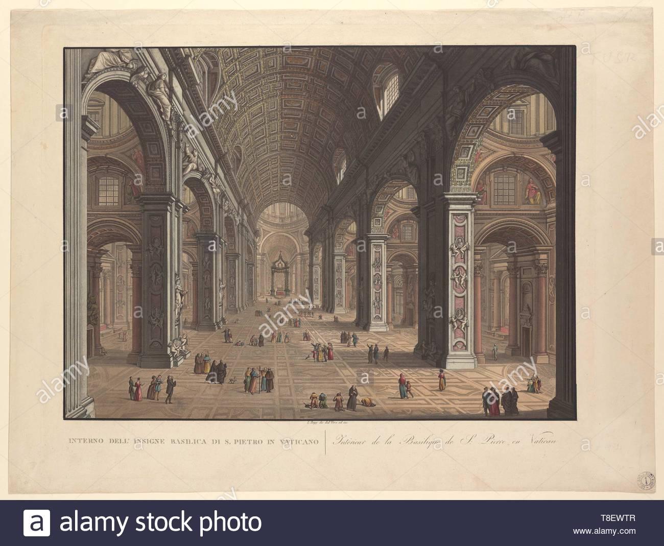 Rupp, Ladislaus, 1793-1854, printmaker.-Interno dell'insigne Basilica di S. Pietro in Vaticano, undated - Stock Image
