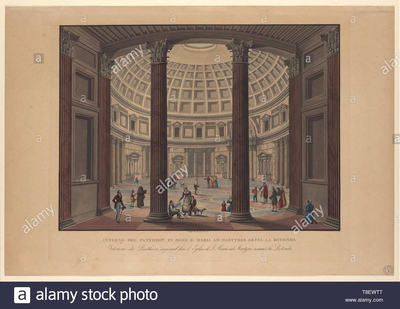 Rupp, Ladislaus, 1793-1854, printmaker.-Interno del Pantheon, in oggi S. Maria ad Martyres della la Rotunda, 1824 - Stock Image