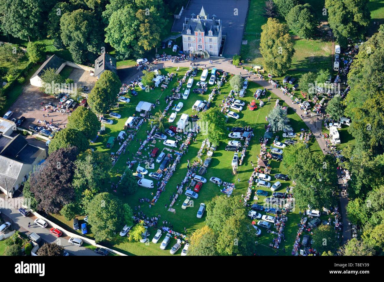 France, Calvados, Ryes, flea market in the castle park (aerial view) - Stock Image