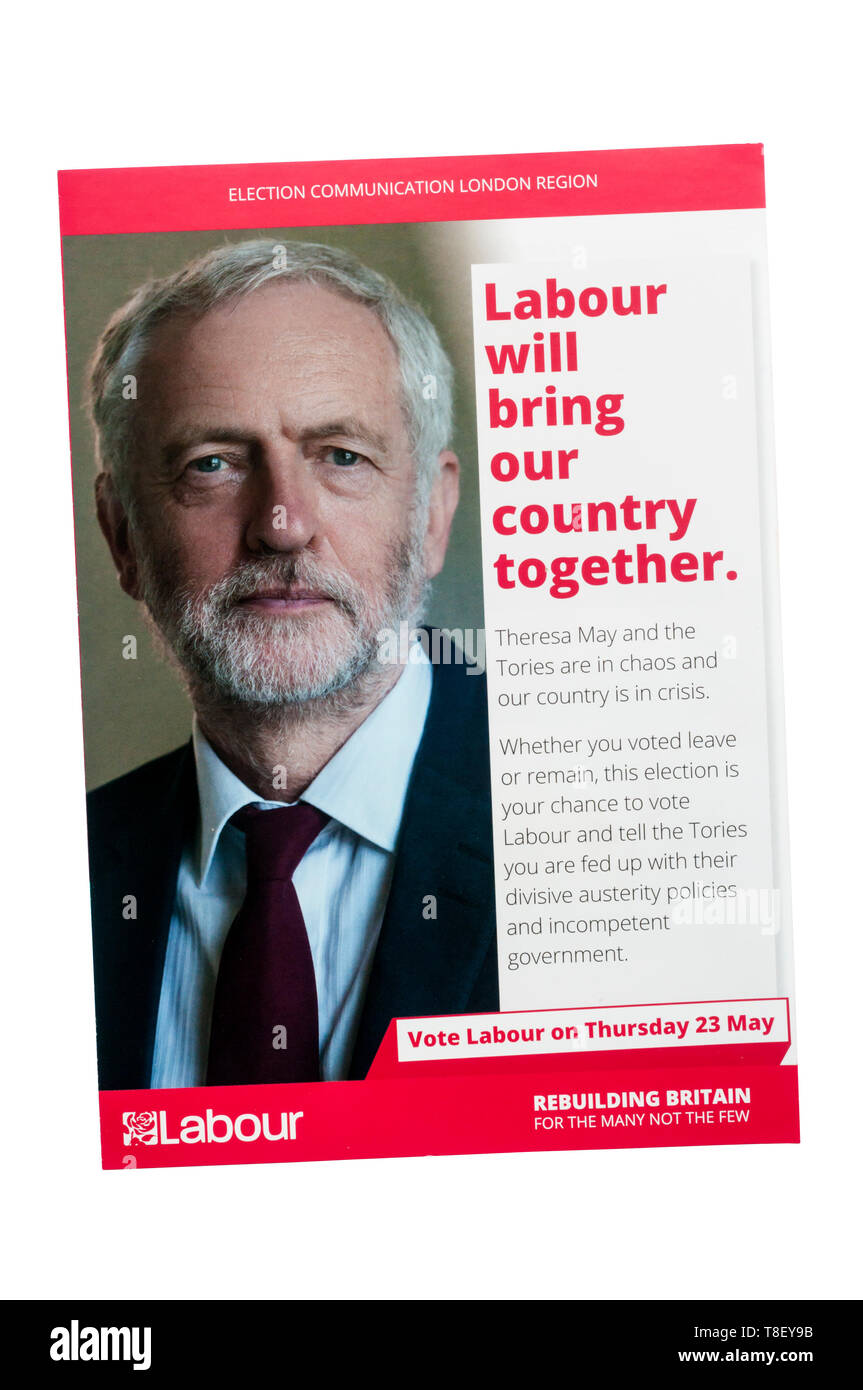European election leaflet 2019 from the Labour Party led by Jeremy Corbyn. - Stock Image