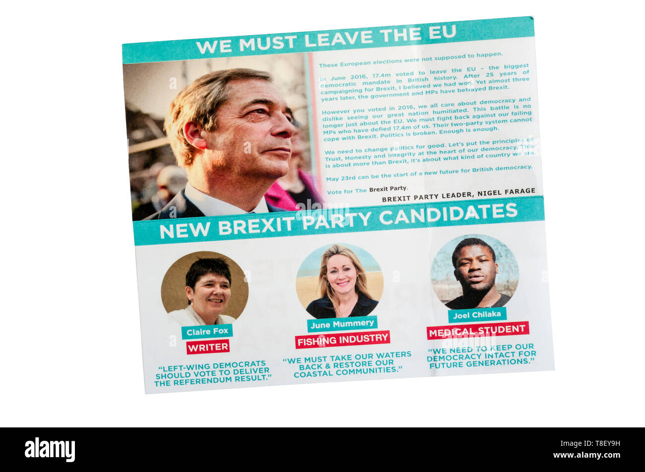 European election leaflet 2019 from the Brexit Party led by Nigel Farage. Stock Photo