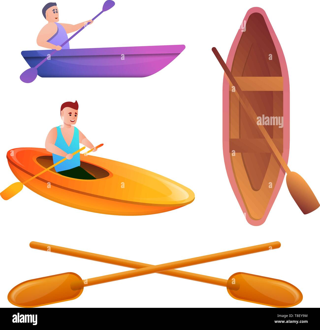 Canoeing icons set. Cartoon set of canoeing vector icons for web design - Stock Vector