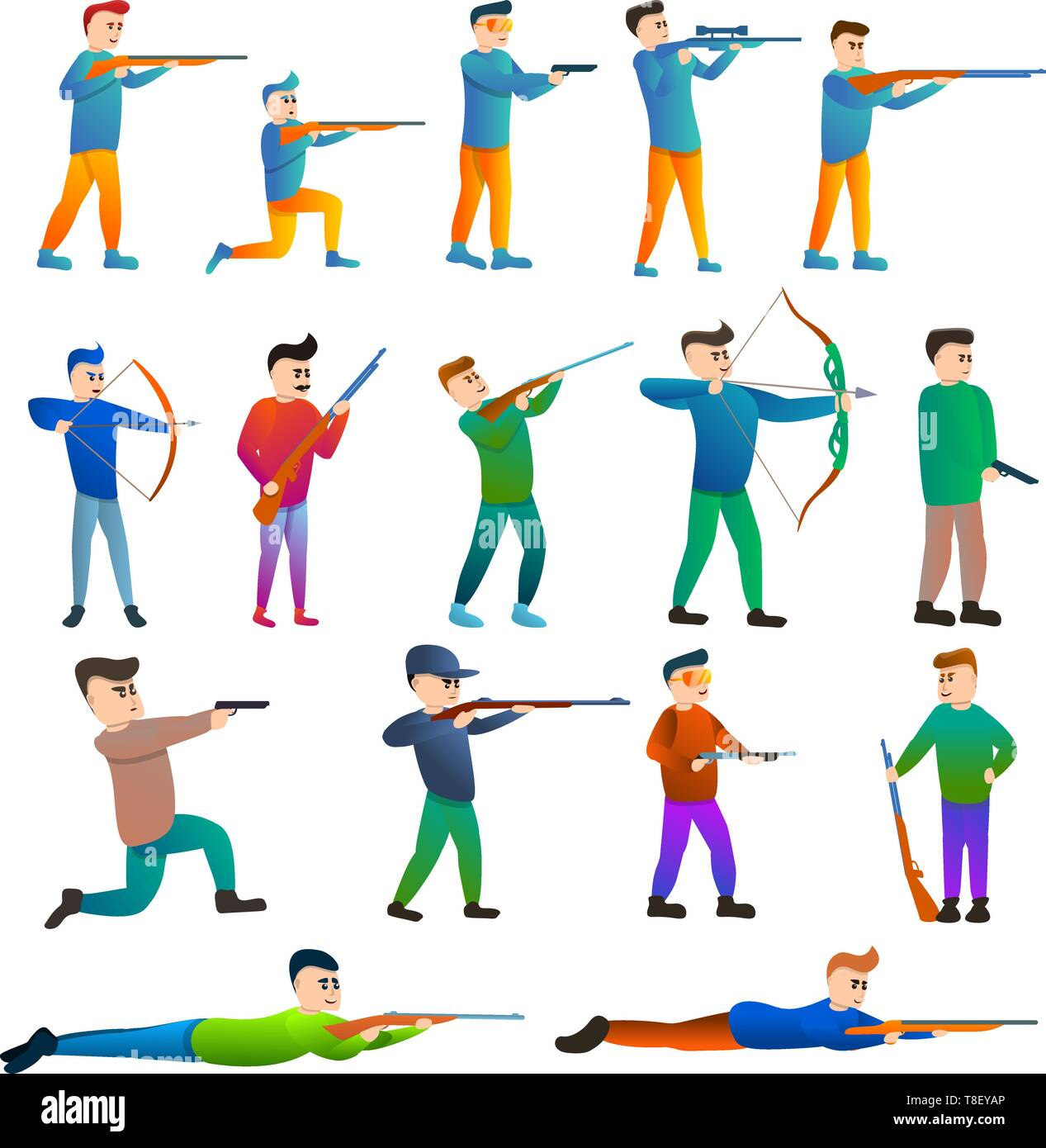 Shooting sport icons set. Cartoon set of shooting sport vector icons for web design - Stock Vector