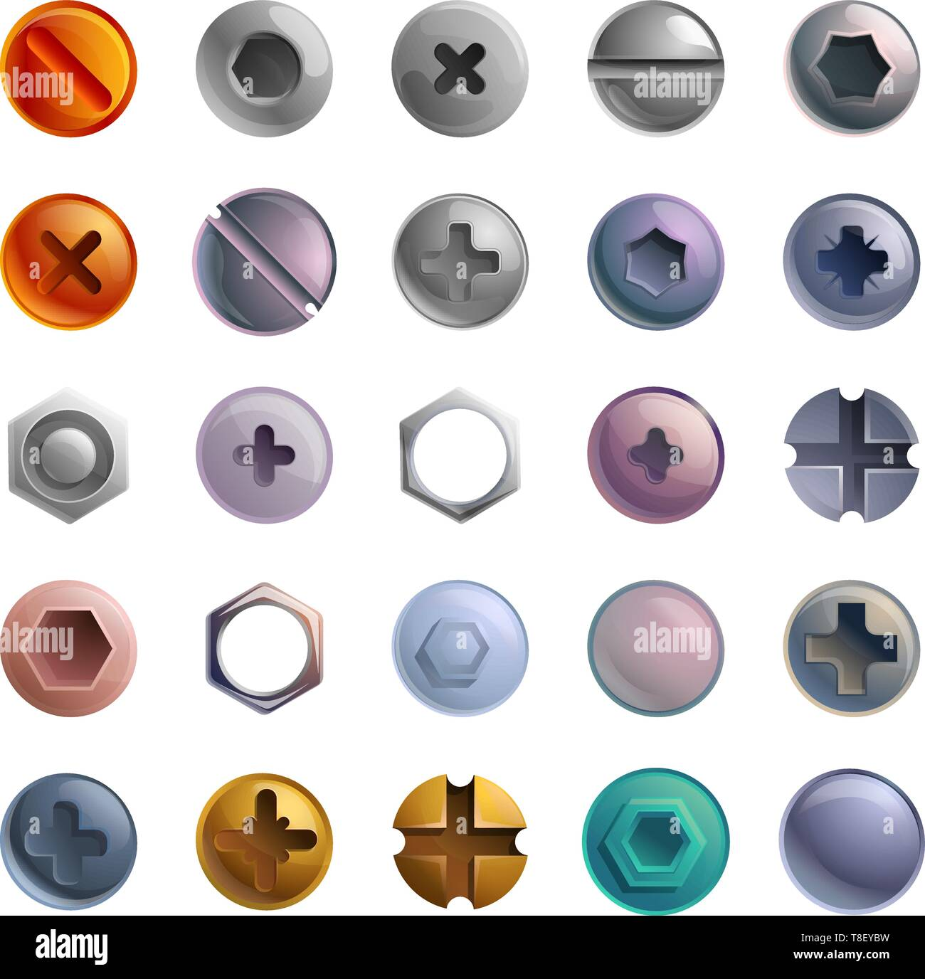 Screw-bolt icons set. Cartoon set of screw-bolt vector icons for web design Stock Vector