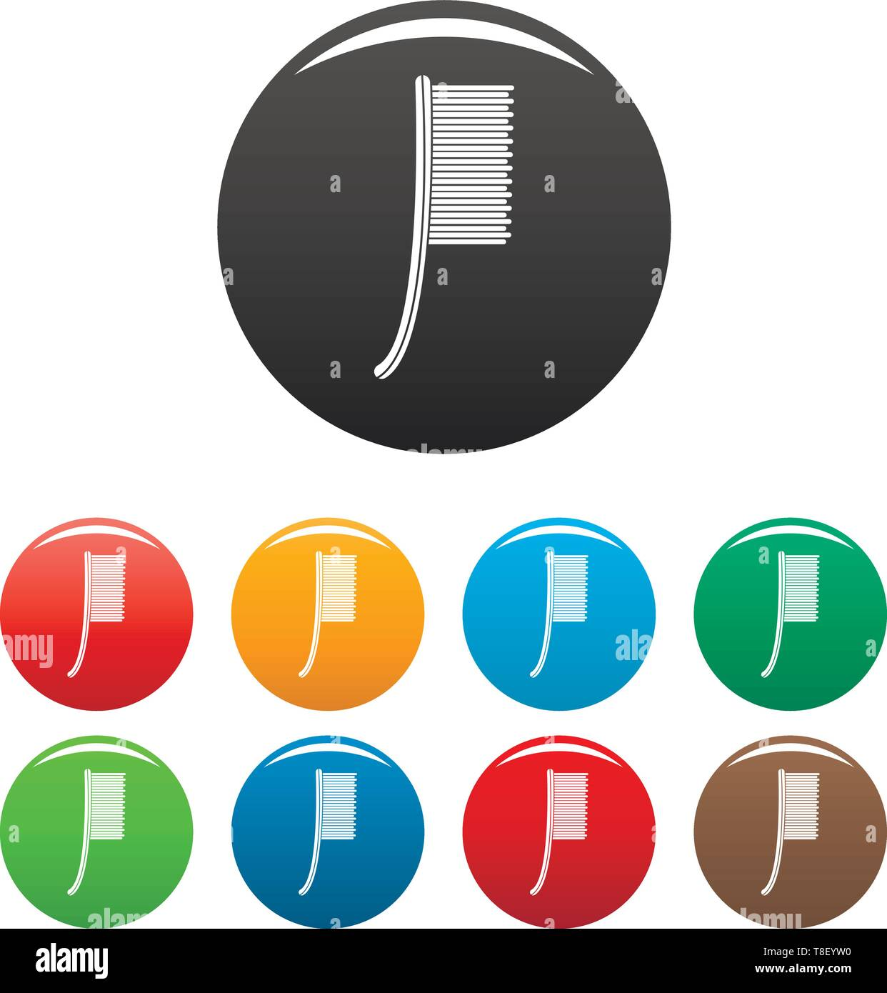 Metal brush icons set 9 color vector isolated on white for any design - Stock Image