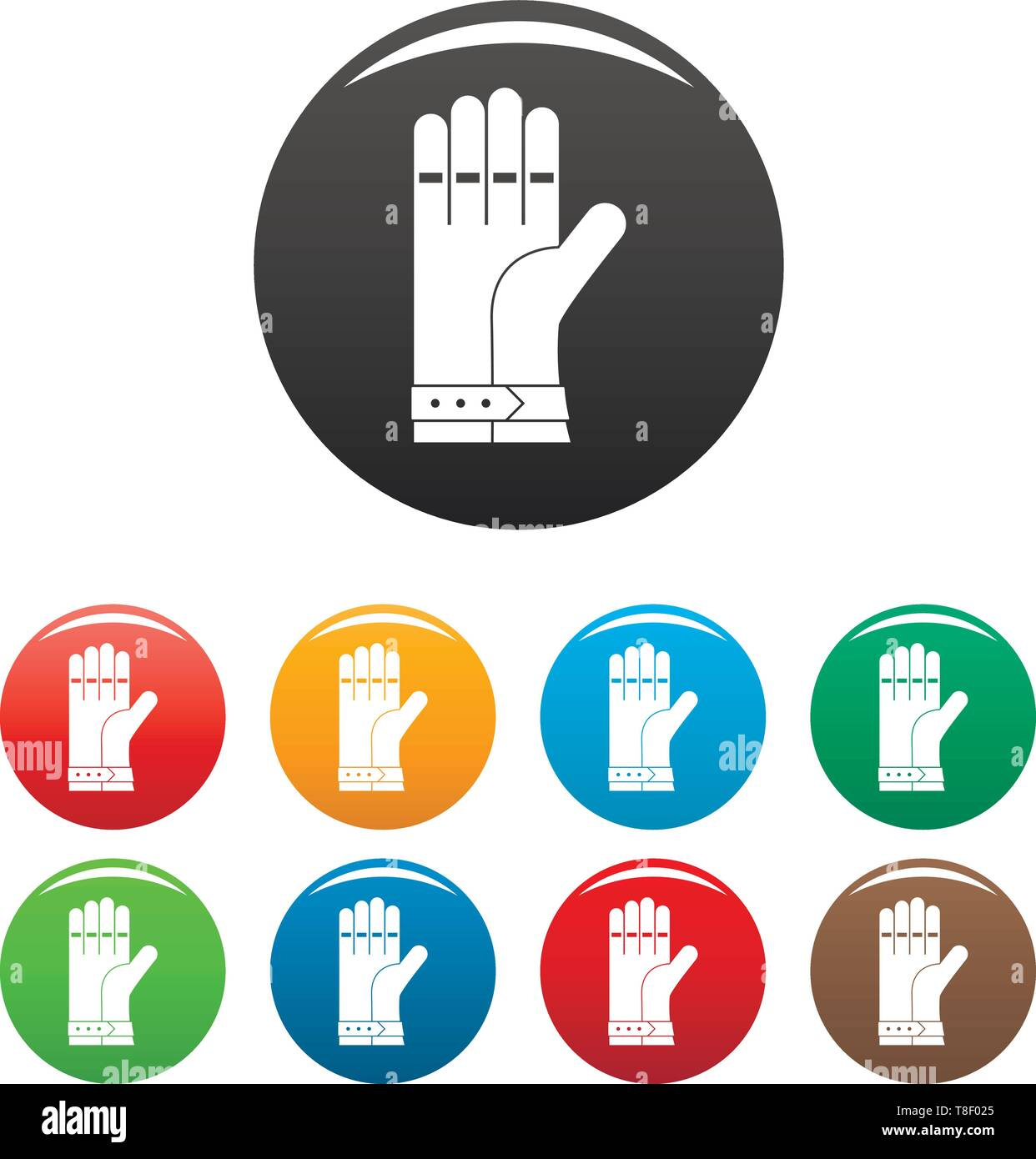 Welding glove icons set 9 color vector isolated on white for any design - Stock Image