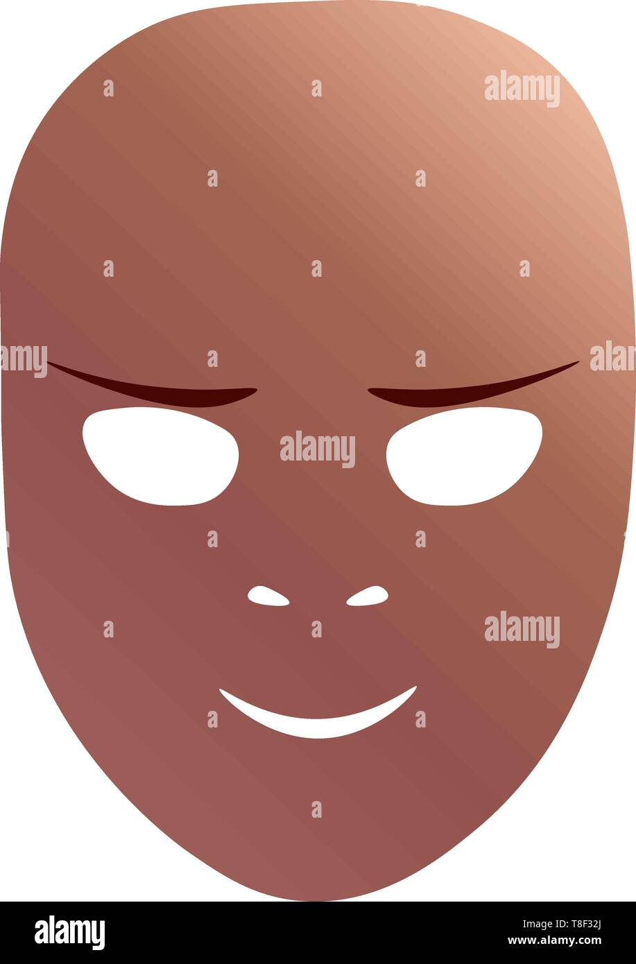 Theatrical mask with cunning emotion. Vector illustration. Bronze mask with gradient isolated on white background. - Stock Image