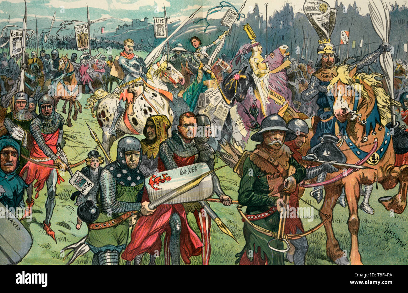 The crusaders - Illustration shows a large group of politicians and journalists as knights on a crusade against graft and corruption. Many carry large pens like a lance; periodical mentioned are 'Colliers, Harper's Weekly, Life, Puck, and McClure's' Magazine. 1906 - Stock Image