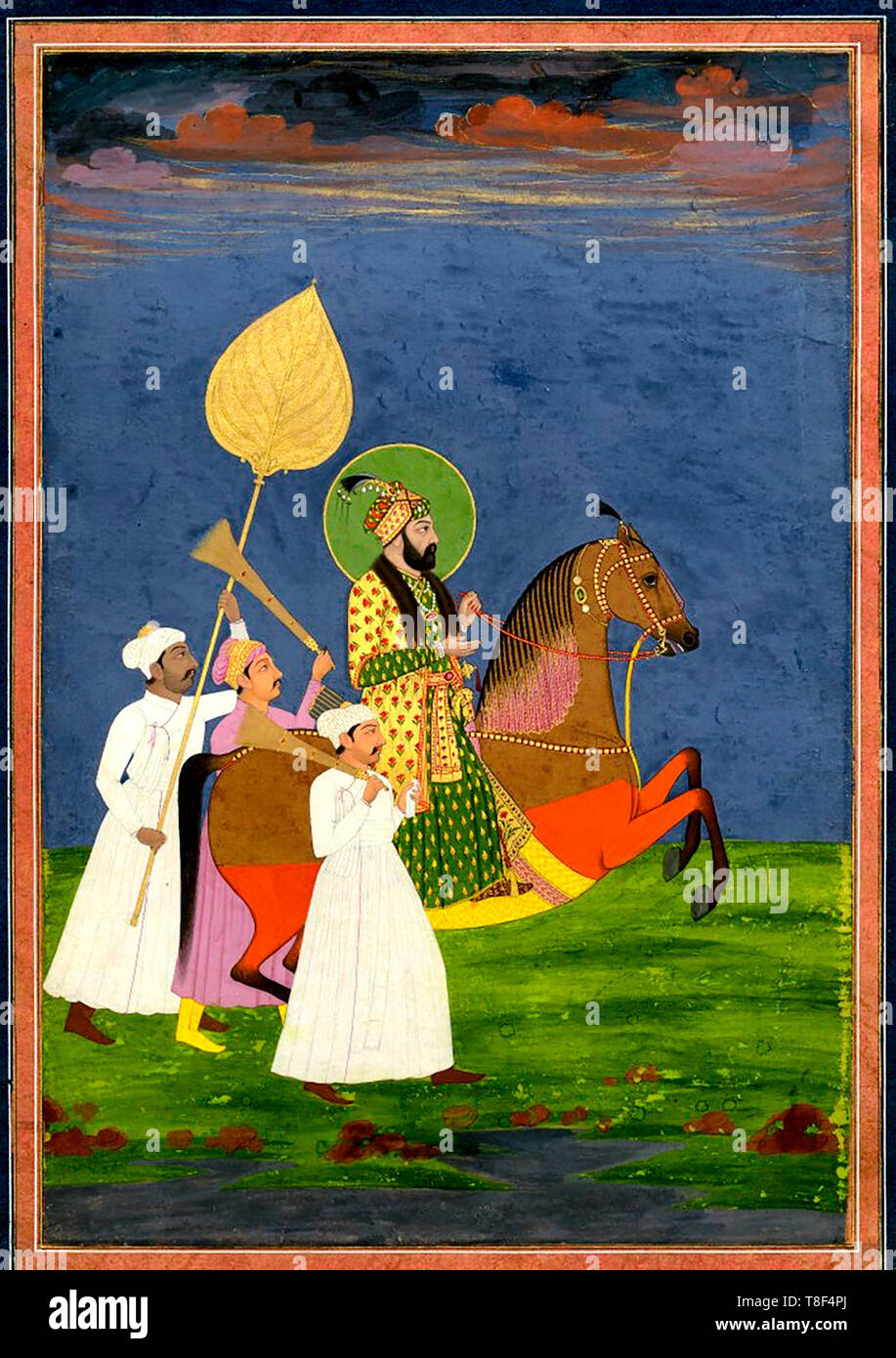 Portrait. Farrukh Siyar on horseback with attendants. On paper. According to reg Emperor Muḥammad Shah. 18th Century - Stock Image