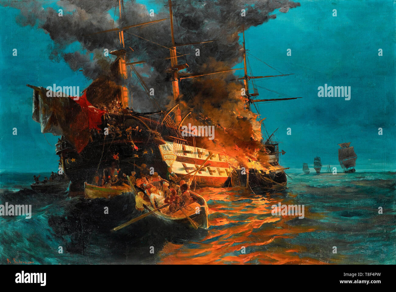 The burning of a Turkish frigate during the Greek War of Independence, 1821 - Konstantinos Volanakis - Stock Image
