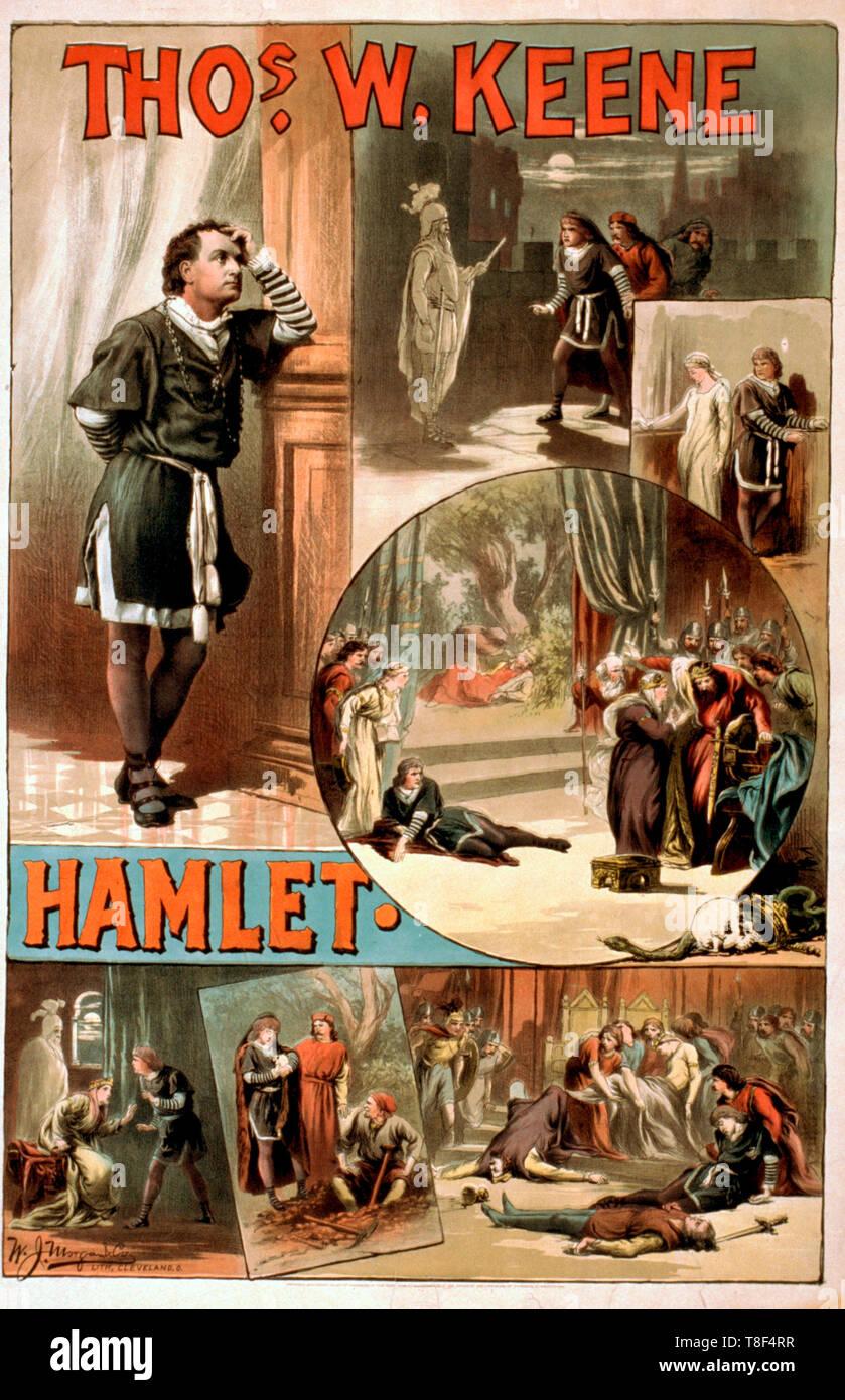 Thomas W. Keene playing Hamlet, circa 1884 - Stock Image