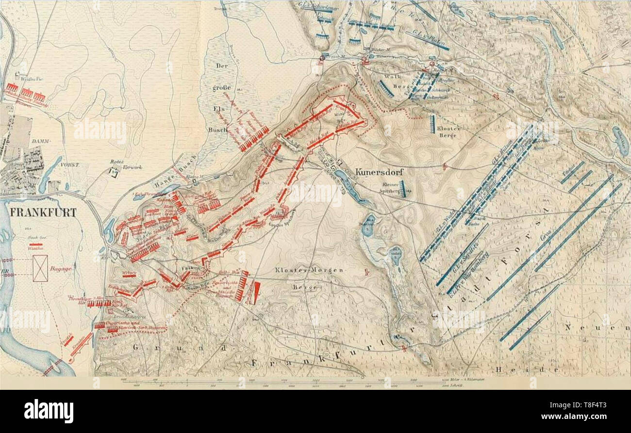 Map of the decisive Battle of Kunersdorf occurred on 12 August 1759 near Kunersdorf (Kunowice), immediately east of Frankfurt an der Oder (the second largest city in Prussia). Part of the Third Silesian War and the wider Seven Years' War, the battle involved over 100,000 men. An Allied army commanded by Pyotr Saltykov and Ernst Gideon von Laudon that included 41,000 Russians and 18,500 Austrians defeated Frederick the Great's army of 50,900 Prussians. - Stock Image