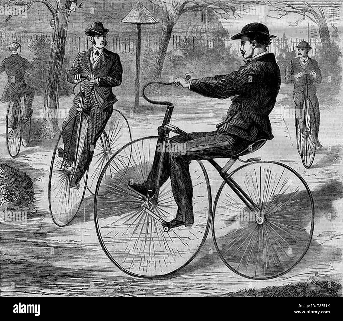 The American Velocipede, a wood engraving sketched by Theodore R. Davis and published in Harper's Weekly, December 19, 1868. - Stock Image
