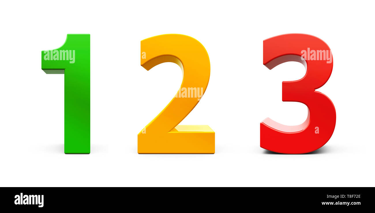Numbers 1, 2, 3 (one, two, three) of different colors isolated on white background, three-dimensional rendering, 3D illustration - Stock Image