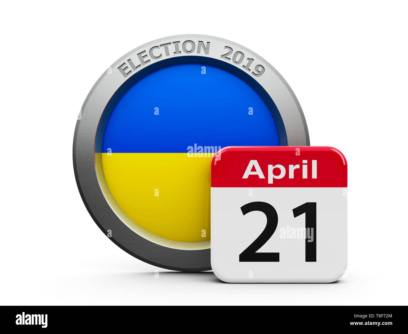 Emblem of Ukraine with calendar button - The Twenty First of April - represents the Election Day 2019 in Ukraine, three-dimensional rendering, 3D illu - Stock Image