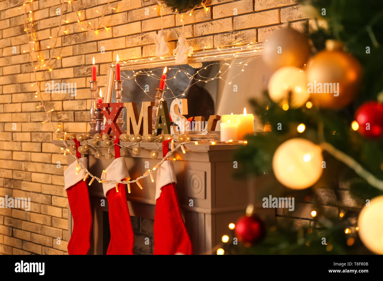 Word Xmas Made Of Wooden Letters With Christmas Decorations On