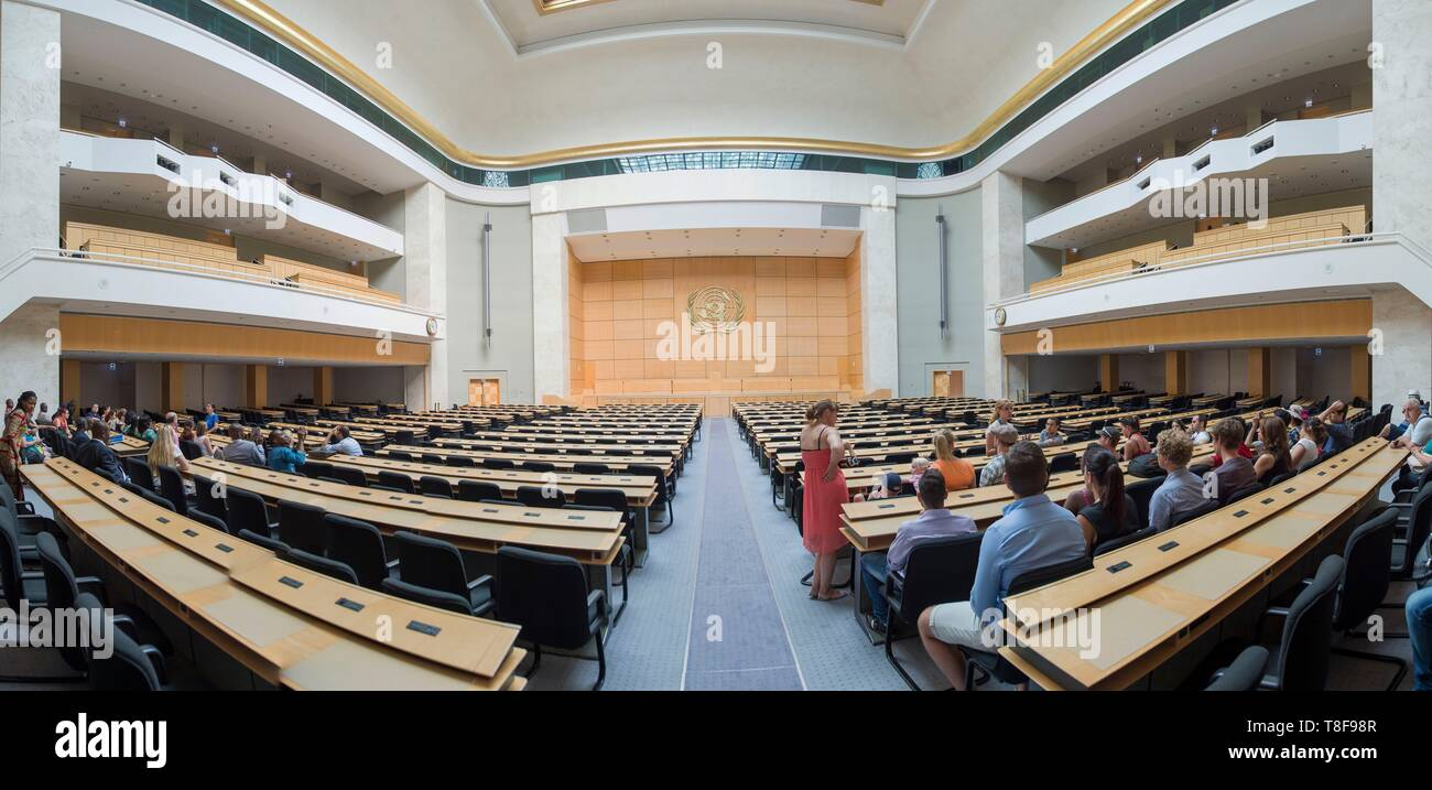 Switzerland, Geneva, Swiss Confederation, in the United Nations Palace, United Nations Organization, panoramic vew of Hall of Assemblies - Stock Image