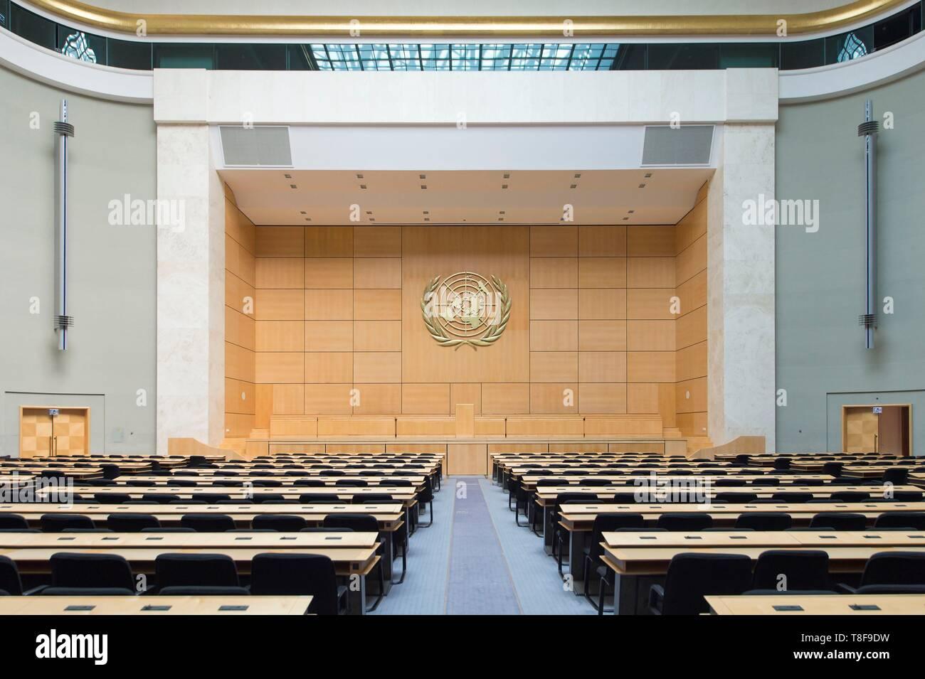Switzerland, Geneva, Swiss Confederation, in the United Nations Palace, United Nations Organization, Hall of Assemblies - Stock Image