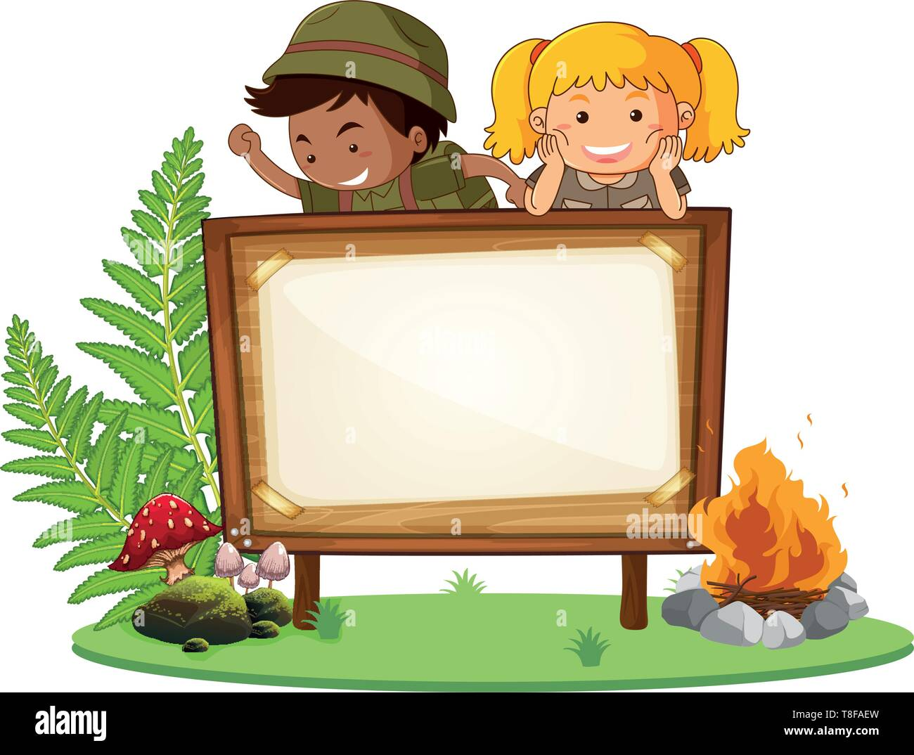 Boy and girl scout banner illustration - Stock Image