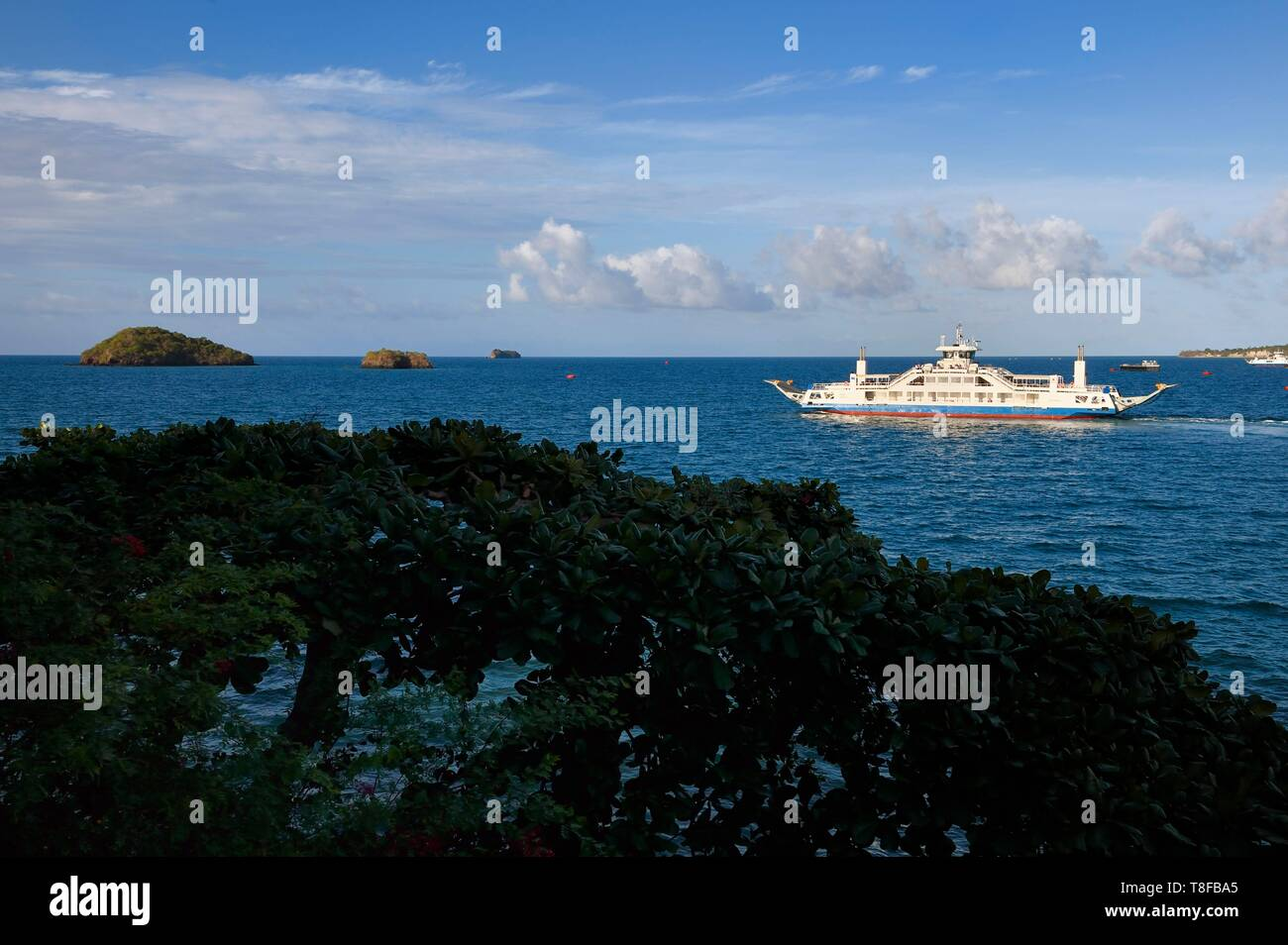 France, Mayotte island (French overseas department), Petite Terre, Dzaoudzi, departure of the barge for Mamoudzou on Grande Terre - Stock Image
