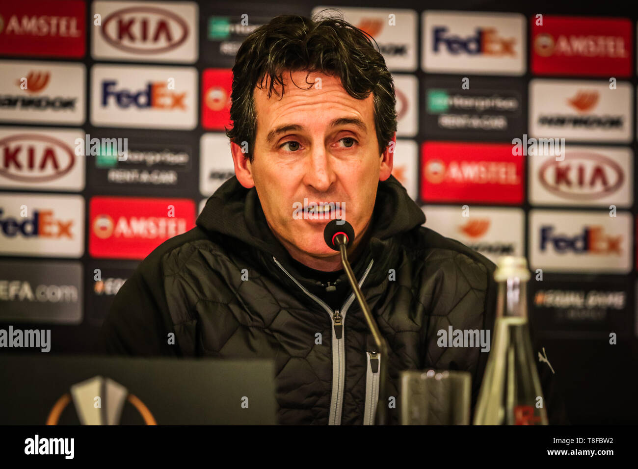 KYIV, UKRAINE - NOVEMBER 29, 2018: Arsenal manager Unai Emery at the press-conference after the UEFA Europa League game against Vorskla Poltava at NSC - Stock Image