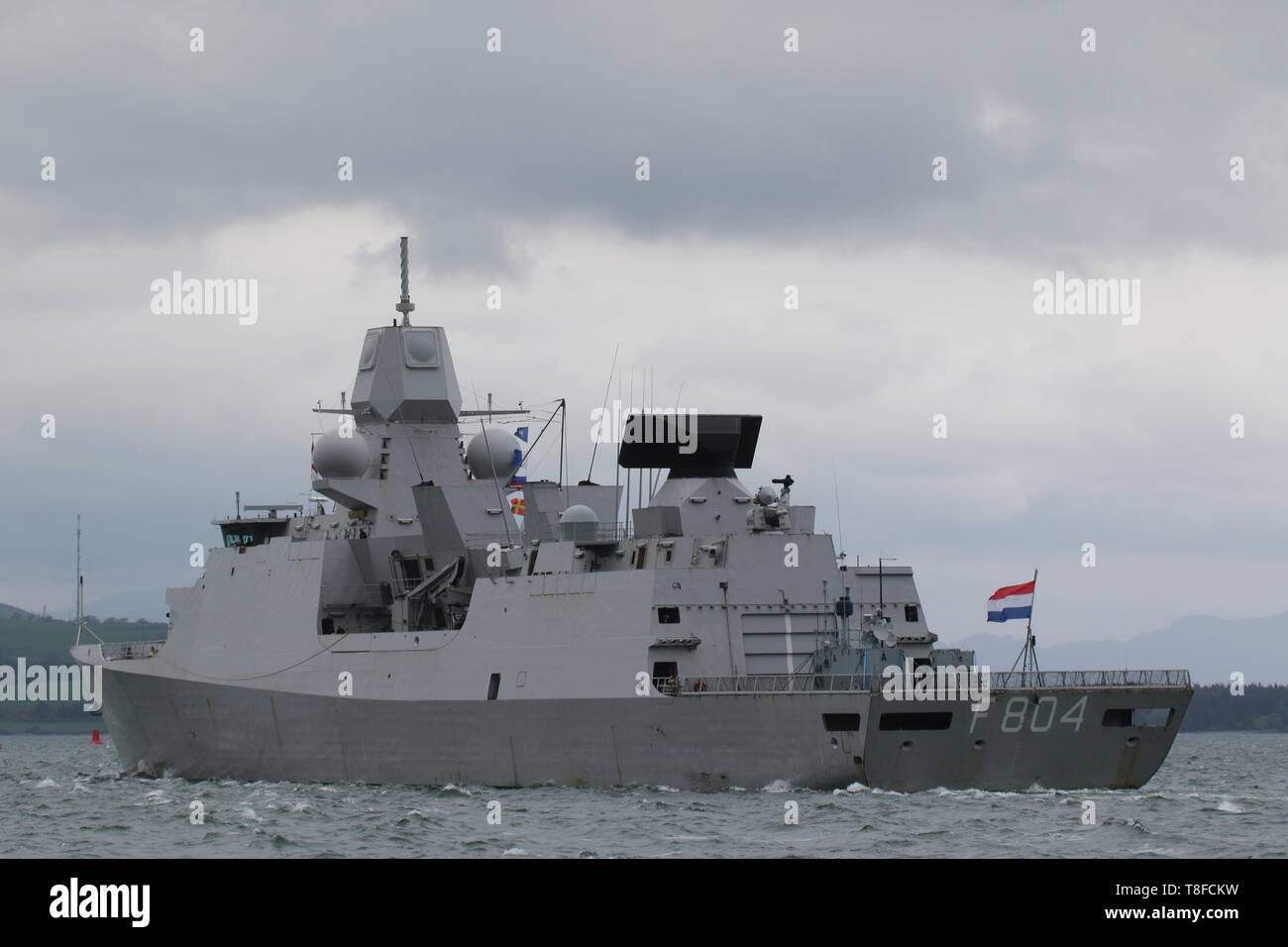 HNLMS De Ruyter (F804), a De Zeven Provincien-class frigate operated by the Netherlands Navy, passing Gourock during Exercise Formidable Shield 2019. Stock Photo