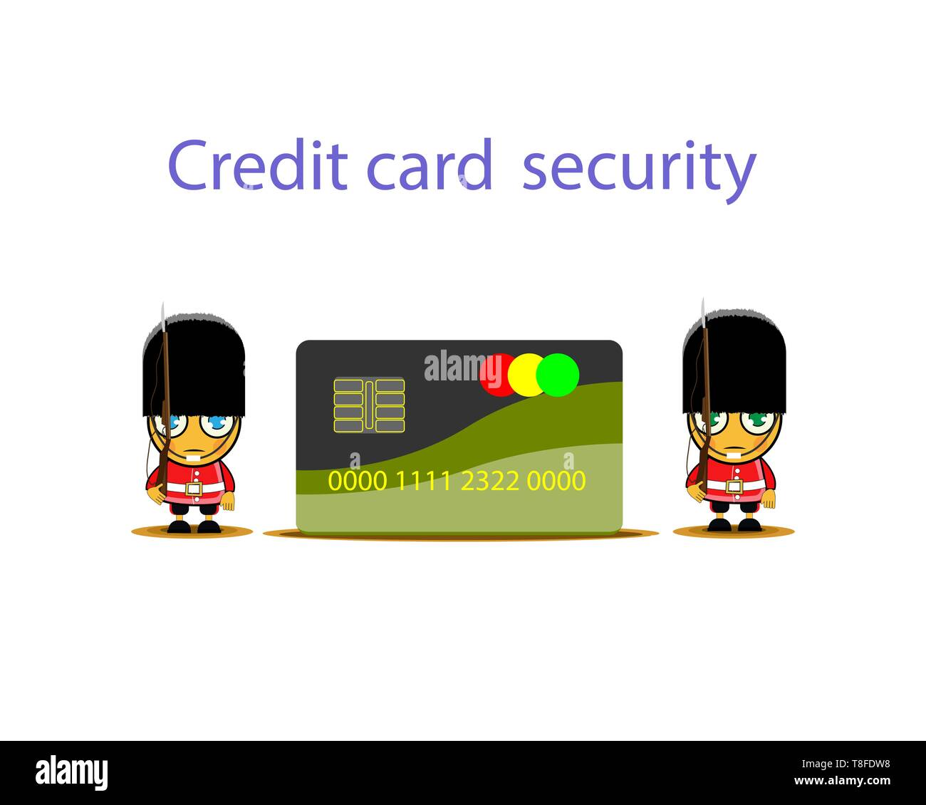 Soldier of the royal guard. Guardian of Secure payment. Secure credit card protected by padlock. Vector illustration. - Stock Vector
