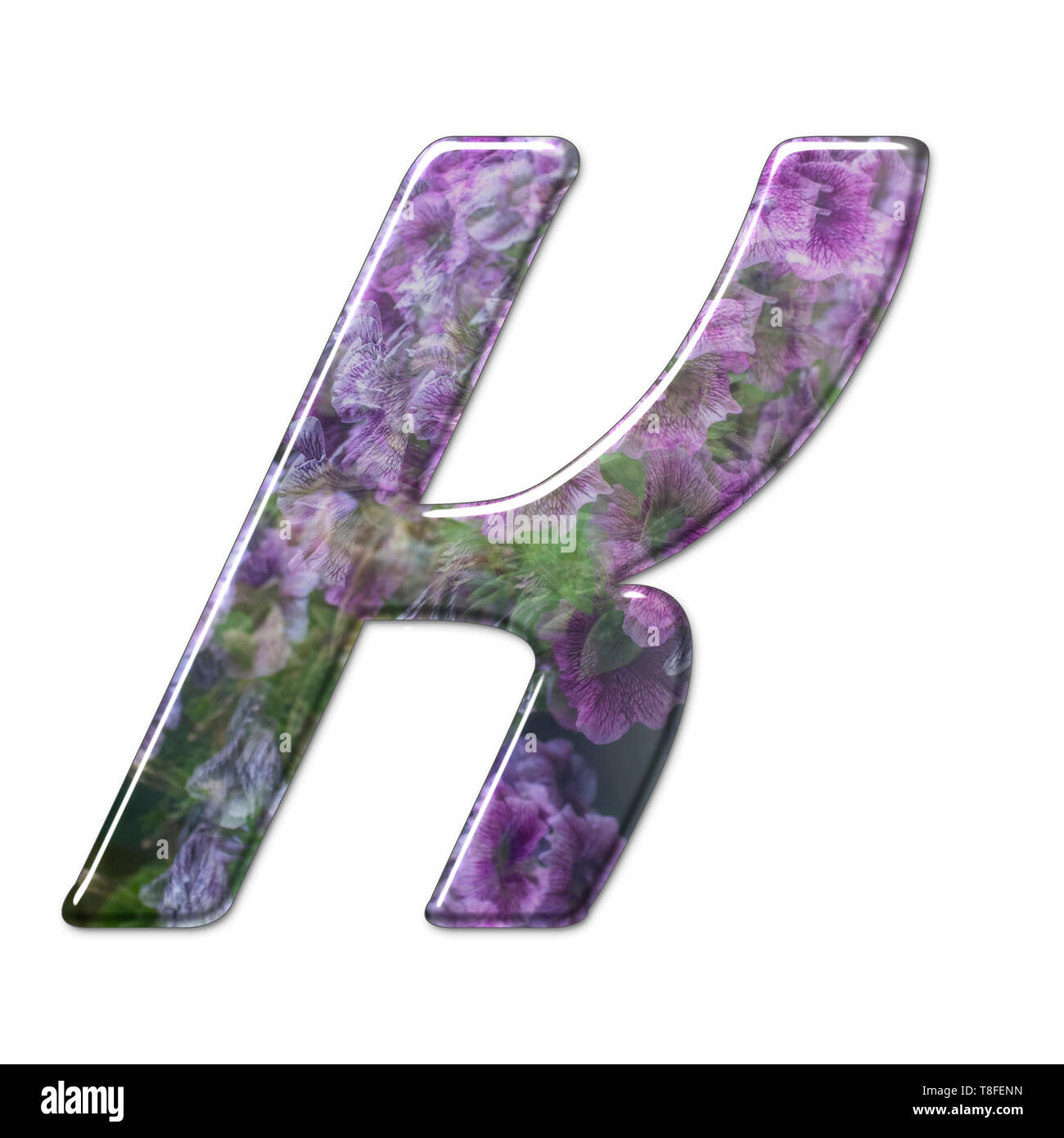 The Capitol Letter K Part of a set of letters, Numbers and symbols of 3D Alphabet made with a floral image on white background - Stock Image