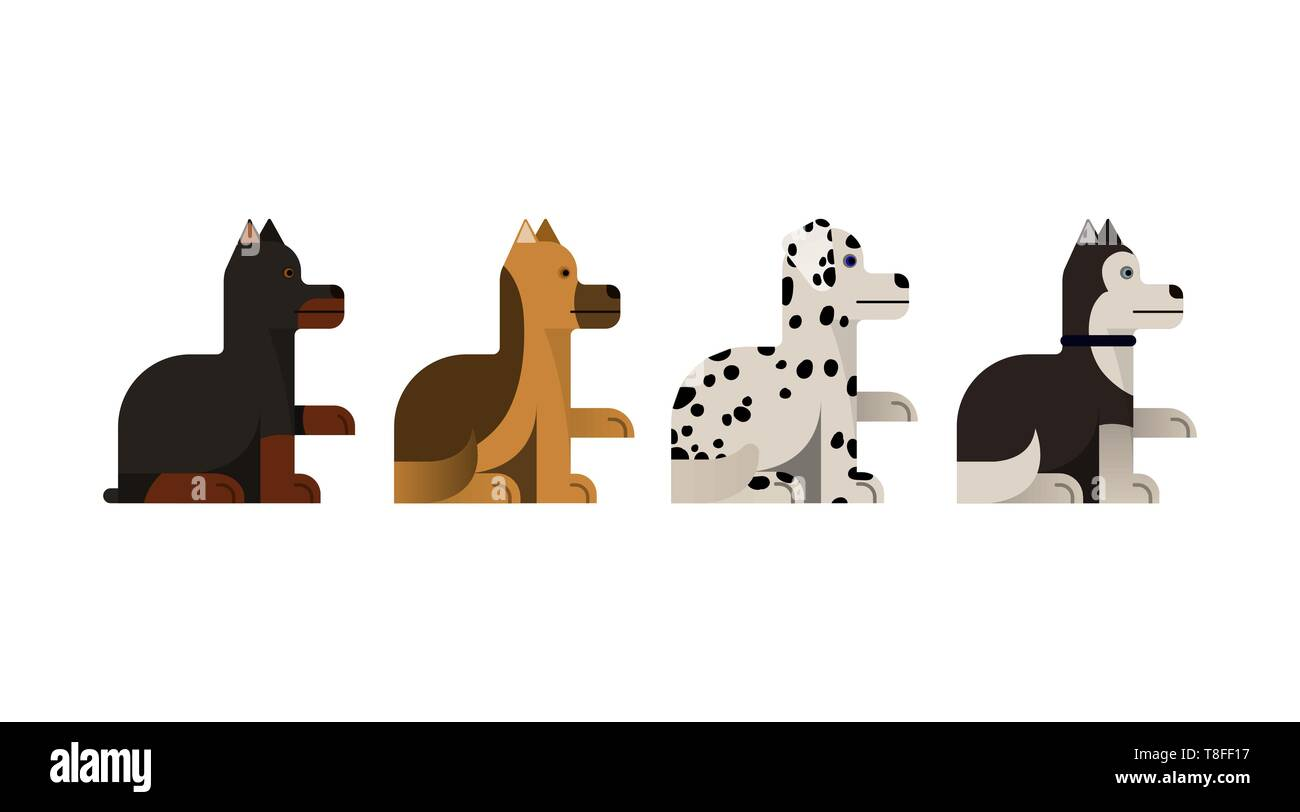 Dogs sits and gives a paw. Doberman, shepherd, husky and dalmatian gives a paw. Vector illustration. Flat icons set. - Stock Vector