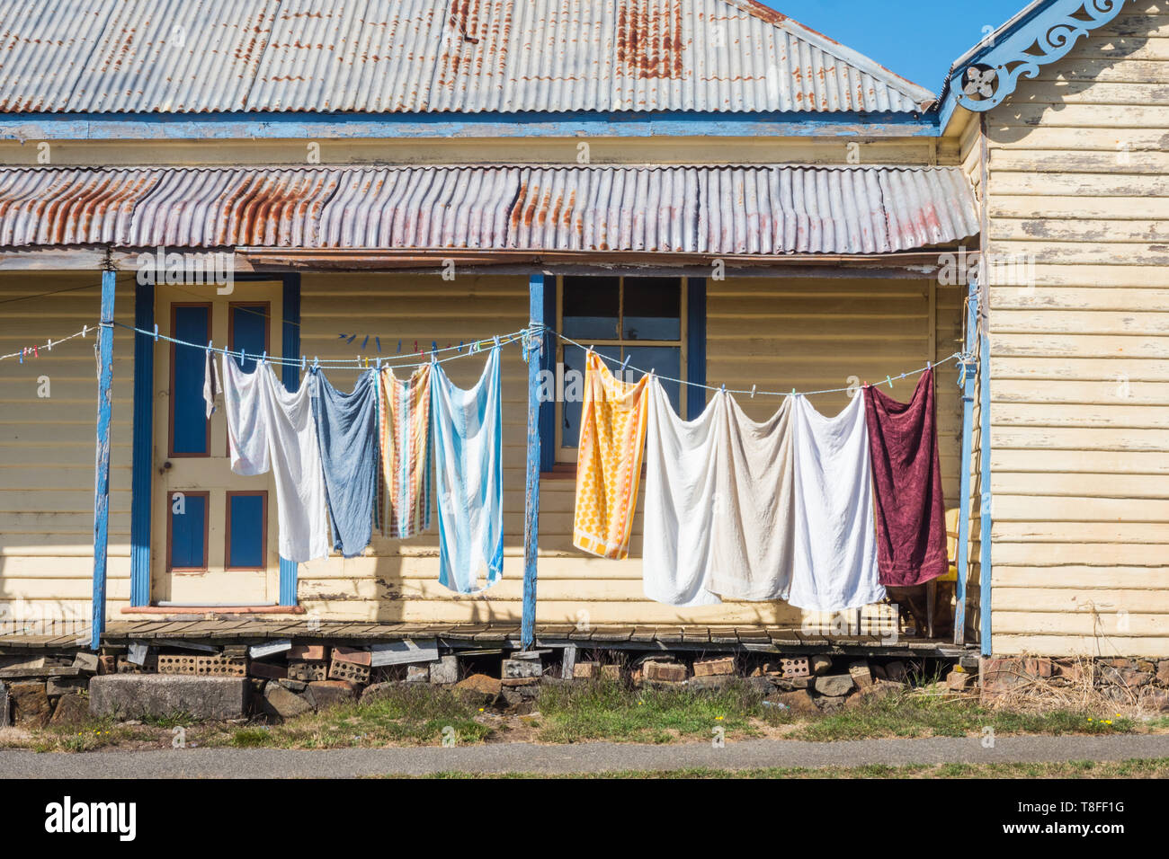 Washing day at the small historic village of Carrick in Tasmania, Australia. - Stock Image