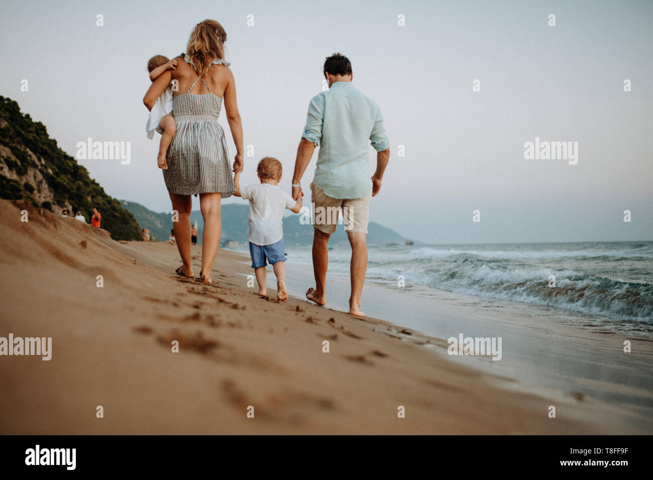 Rear view of family with two toddler children walking on beach on summer holiday. - Stock Image